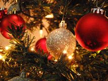 X luces del mas en el árbol foto de archivo libre de regalías
