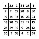 6x6 magic square with sum 111 of the Sun. 6x6 magic square of order 6 of astrological Sun with magic constant 111. The sum of numbers in any row, column, or stock illustration