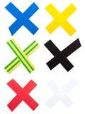 X Markierung des Farbenbandes Stockfotografie