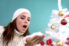 X-mas. Wintertime woman with snow and christmastree stock photos
