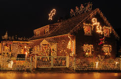 X-mas. A house lit to the max at X-mas Royalty Free Stock Photo