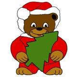X-MAS BEAR. Drawn christmas-bear holding a christmas tree Stock Image
