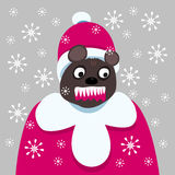 X-mas bloodthirsty dark brown bear stock photos
