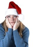 X-mas blues. Woman isolated with the christmas blues Stock Photography