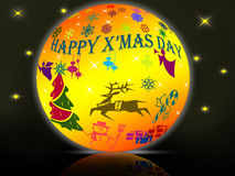 X'mas day in crystal ball Royalty Free Stock Photography