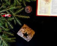 X-mas. Decoration flat lay, dark background Stock Photography
