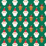 X-mas faces 004. X`mas faces pattern gift wrap paper. Santa , reindeer with red hats. Green rectangle background. Flat style vector illustration