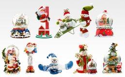 X-mas fun. A set of X-mas presents including snowmen, santa and different snowballs Stock Photography