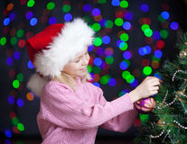 X-mas happy kid over bright festive background Royalty Free Stock Photography