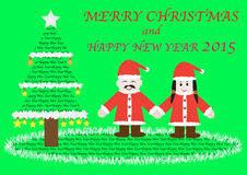 X'mas and happy new year text with 2 cartoons Royalty Free Stock Photo