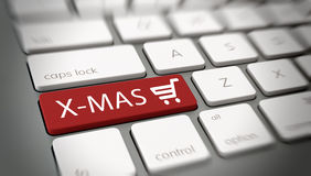 X-mas Key on Laptop for Christmas Shopping Concept Royalty Free Stock Photography