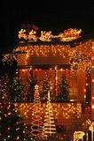 X-mas lights overkill. A house lit to the max at X-mas Royalty Free Stock Image