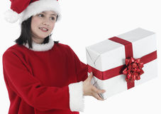 X-mas little girl with huge present Royalty Free Stock Photo