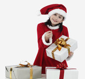 X-mas little girl with presents Stock Photos