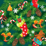 X-mas and New Year background with Christmas acces. Sories, stockings, sweets, horse and teddy bear toys and fir tree branches. Seamless pattern for holiday Royalty Free Stock Image