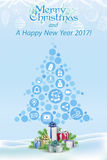 X-MAS and new year wishes 2016 digital concept Royalty Free Stock Image
