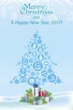 X-MAS och det nya året önskar 2016 digitalt begrepp Royaltyfri Bild