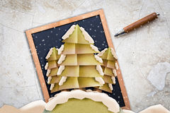 X'mas postcard with paper cut style TREE SHAPE Royalty Free Stock Photos