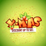 X-Mas Sale poster, banner or flyer design. Stock Images