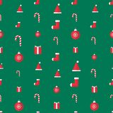 X-mas things 004. X`mas things seamless pattern gift wrap paper. Candy cane, santa hat, sock, gift box,snowflake ball. Green rectangle background. Flat style vector illustration