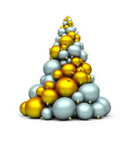 X-mas tree. A stack of gold and silver bomblets; 3d rendering Stock Illustration