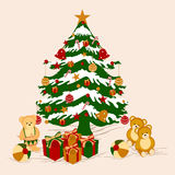 X-mas tree decorated with gift boxes and other ornaments.. Stock Photos
