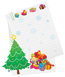 X'mas tree, gift boxes and paper note Stock Photos