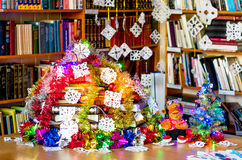 X-mas tree in library make from books Royalty Free Stock Photo