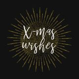 X-mas wishes. Gold glitter background. Inspirational quotes about travel, positive journey phrases to poster, greeting card, printable wall art, calligraphy Stock Photography