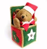 X-mass bear. In a fabric box Stock Photos
