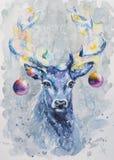 X-massa geschilderde hertenwaterverf Stock Afbeelding