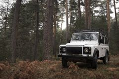 4x4 in the middle of the forest. Royalty Free Stock Photography