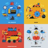 2x2 Mining Icons Set. Colorful flat set of 2x2 icons with coal mining industry miners and transportation elements isolated vector illustration Stock Images