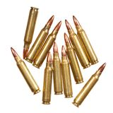 5.56x45mm NATO intermediate cartridges isolated on white. High resolution photo stock image