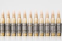 5.56x45mm NATO Tracer Bullets. Belt royalty free stock photo