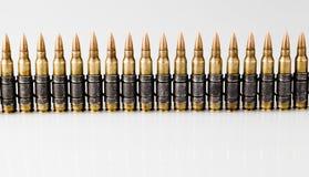 5.56x45mm NATO Tracer Bullets. Belt Stock Photos