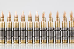 5.56x45mm NATO Tracer Bullets. Belt stock photo