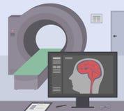 有计算机X射线机的放射性室 MRI/扫描在屏幕上的人脑的CT诊断扫描器和显示器 图库摄影