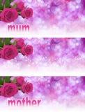 3 x-Muttertag-Website-Fahnen Stockbild