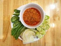 & x22; Nam Prik Ong & x22; , Thailändsk kryddig mat Royaltyfri Bild