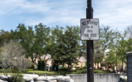 'No fishing off the dock' signpost Stock Photography