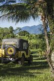 4x4 offroader travels deep into the rain forest in Paraty, Brazil Royalty Free Stock Photo