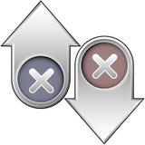 X ou ícone próximo sobre acima e para baixo setas Foto de Stock