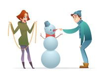 Cheerful guy and the girl make a snowman. Cartoon modern characters design.  vector illustration