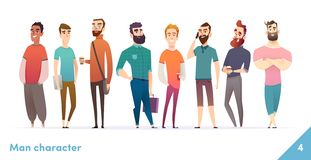 People character design collection. Modern cartoon flat style. Males or manegers stand together. Young professional males poses. People character design vector illustration