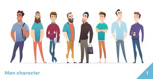 People character design collection. Modern cartoon flat style. Males or manegers stand together. Young professional males poses. People character design royalty free illustration