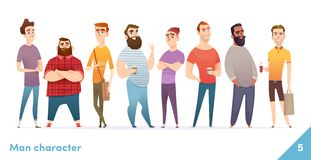 People character design collection. Modern cartoon flat style. Males or manegers stand together. Young professional males poses. royalty free illustration