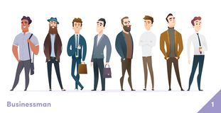 Businessman or people character design collection. Modern cartoon flat style. Young professional males poses. vector illustration
