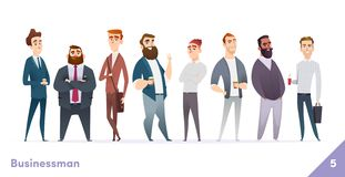 Businessman or people character design collection. Modern cartoon flat style. Young professional males poses. royalty free illustration