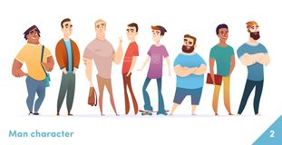 People character design collection. Modern cartoon flat style. Males or manegers stand together. Young professional males poses. People character design stock illustration